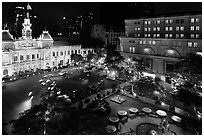 City Hall square at night from above. Ho Chi Minh City, Vietnam ( black and white)