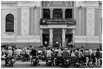 Tradionnal music performance outside municipal opera house. Ho Chi Minh City, Vietnam ( black and white)
