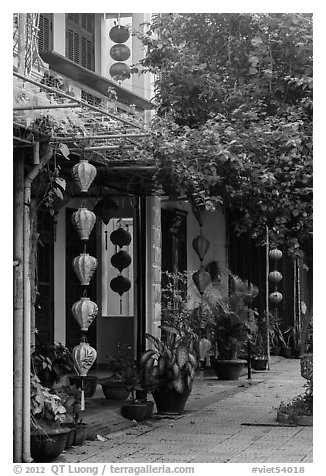 Sidewalk and houses with paper lanterns and lush vegetation. Hoi An, Vietnam