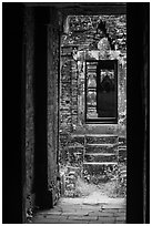 View from inside champa tower temple. My Son, Vietnam (black and white)