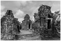 Hindu tower temples. My Son, Vietnam (black and white)