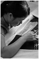 Silk embroider. Hoi An, Vietnam ( black and white)