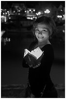 Young woman with candle box. Hoi An, Vietnam (black and white)