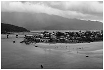 View of village and beach. Vietnam ( black and white)