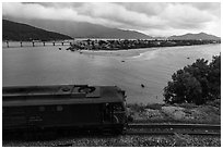 Train, bay, and village. Vietnam ( black and white)