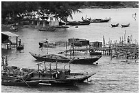 Boats and piers. Vietnam ( black and white)