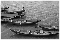 Blue fishing sampans from above. Vietnam ( black and white)