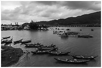 Fishing village, stormy evening. Vietnam ( black and white)