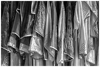 Silk robes, imperial citadel. Hue, Vietnam (black and white)