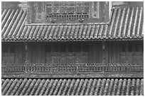 Detail of tile roof and wooden palace, citadel. Hue, Vietnam (black and white)