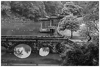 Stone bridge, pavilion, and Luu Khiem Lake, Tu Duc Tomb. Hue, Vietnam (black and white)