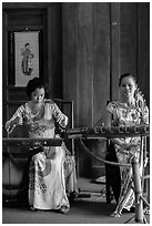 Traditional musicians, Temple of the Litterature. Hanoi, Vietnam (black and white)