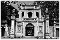 Entrance gate, Temple of the Litterature. Hanoi, Vietnam (black and white)