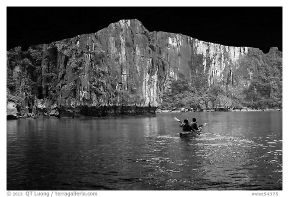 Kayaking out of Luon Cave. Halong Bay, Vietnam