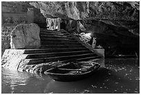 Stairs and wharf inside cave, Trang An. Ninh Binh,  Vietnam (black and white)