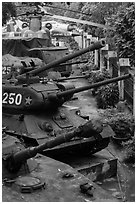 Tanks, helicopters, and warplanes, military museum. Hanoi, Vietnam (black and white)