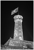 Flag tower at night, Thanh Long Citadel. Hanoi, Vietnam (black and white)