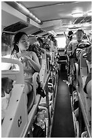 Tourists on sleeper bus. Vietnam ( black and white)