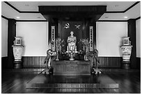 Altar to Ho Chi Minh, Ho Chi Minh Museum. Ho Chi Minh City, Vietnam (black and white)
