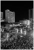 Packed Nguyen Hue boulevard on Christmas eve from above. Ho Chi Minh City, Vietnam ( black and white)