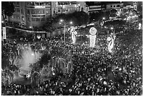 Holiday crowds from above. Ho Chi Minh City, Vietnam ( black and white)
