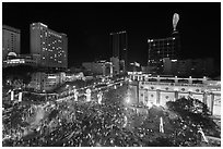 Crowded intersection at night from above, during holidays. Ho Chi Minh City, Vietnam ( black and white)