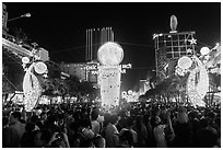 Crowds on Nguyen Hue boulevard on New Year eve. Ho Chi Minh City, Vietnam ( black and white)