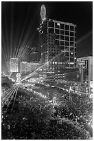 Laser show, central Saigon, New Year eve. Ho Chi Minh City, Vietnam ( black and white)