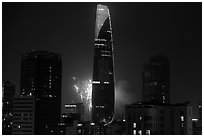 Bitexco tower with fireworks. Ho Chi Minh City, Vietnam (black and white)