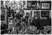 Crafts in souvenir store. Ho Chi Minh City, Vietnam ( black and white)
