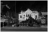 Opera house at night. Ho Chi Minh City, Vietnam ( black and white)