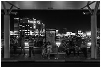 Outside Than Son Nhat airport at night. Ho Chi Minh City, Vietnam ( black and white)