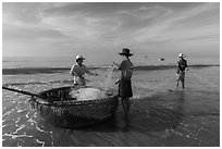 Fishermen folding fishing net into coracle boat. Mui Ne, Vietnam (black and white)