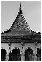 Roof detail and moon, Ong Met Pagoda. Tra Vinh, Vietnam (black and white)