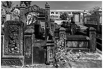 Ancient carved stone tombs. Tra Vinh, Vietnam (black and white)