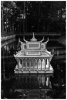 Spirit house on small pond. Tra Vinh, Vietnam (black and white)