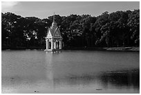 Spirit house in large pond. Tra Vinh, Vietnam (black and white)