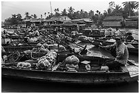 Phung Diem floating market. Can Tho, Vietnam (black and white)