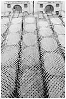 Drying rice paper wrappers. Can Tho, Vietnam (black and white)