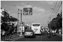 Boulevard and directional signs near airport. Ho Chi Minh City, Vietnam ( black and white)