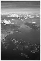 Aerial view of Hon Tre Island and Nha Trang. Vietnam ( black and white)