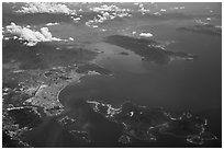 Aerial view of Nha Trang Bay. Vietnam ( black and white)