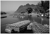 Floating fish cages, Son Trach. Vietnam (black and white)
