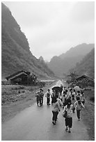 Children returning from school, Ma Phuoc Pass area. Northeast Vietnam (black and white)