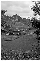 Cultures, homes, and peaks, Ma Phuoc Pass area. Northeast Vietnam (black and white)
