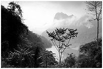 Ba Be Lake with morning mist. Northeast Vietnam (black and white)