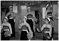 Thai women performing a dance, Ban Lac, Mai Chau. Northwest Vietnam (black and white)
