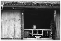 Old woman at her window, Ban Lac. Northwest Vietnam (black and white)