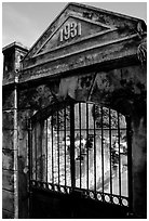 Door of the colonial jail where many political opponents were imprisoned, Son La. Northwest Vietnam (black and white)