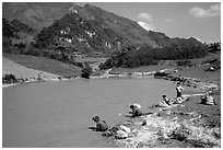 Thai women on the shores of a pond, near Tuan Giao. Northwest Vietnam (black and white)
